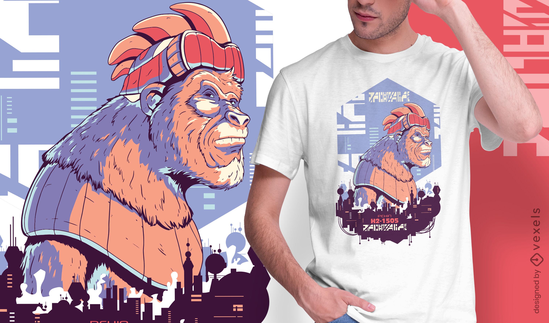 Design de t-shirt de gorila robô urbano cibernético