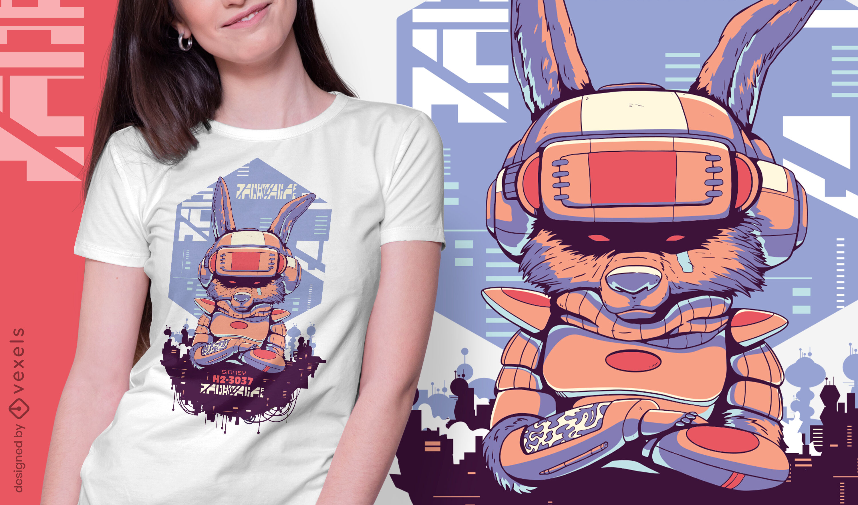 Robot rabbit sci-fi cyber urban t-shirt design