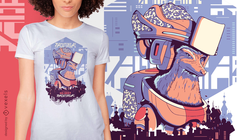 Diseño de camiseta de robot fox sci-fi cyber urban