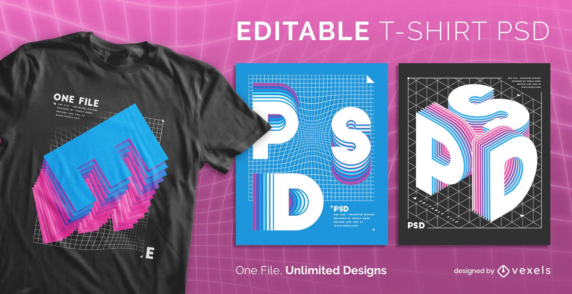 3D alphabet letters scalable t-shirt psd