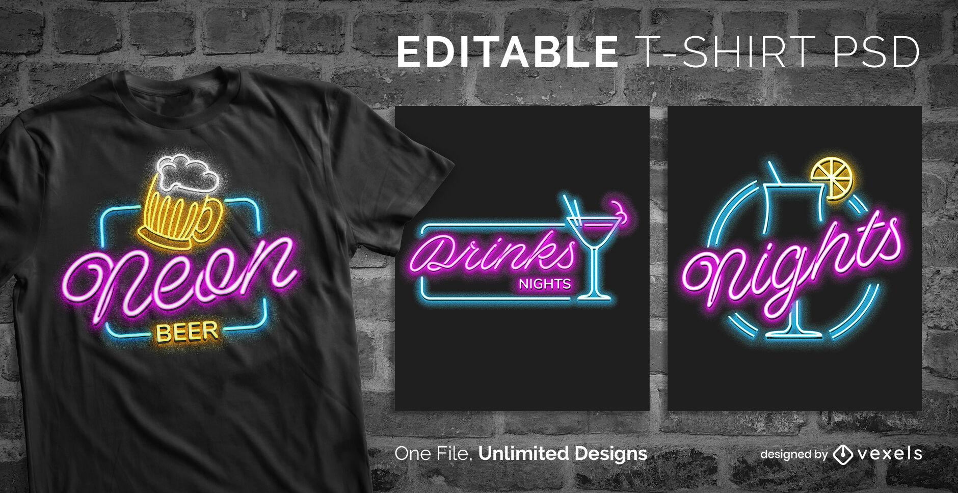 T-shirt psd editável de sinal de néon