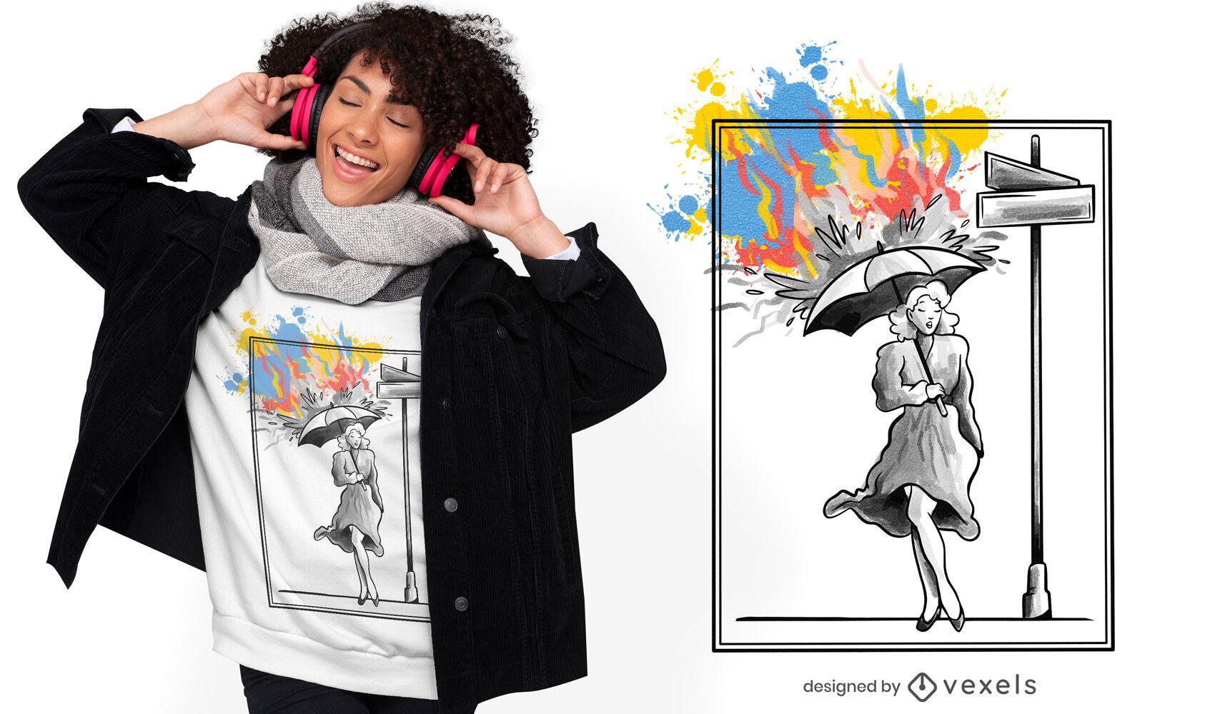 Mujer con diseño de camiseta de lluvia de color paraguas