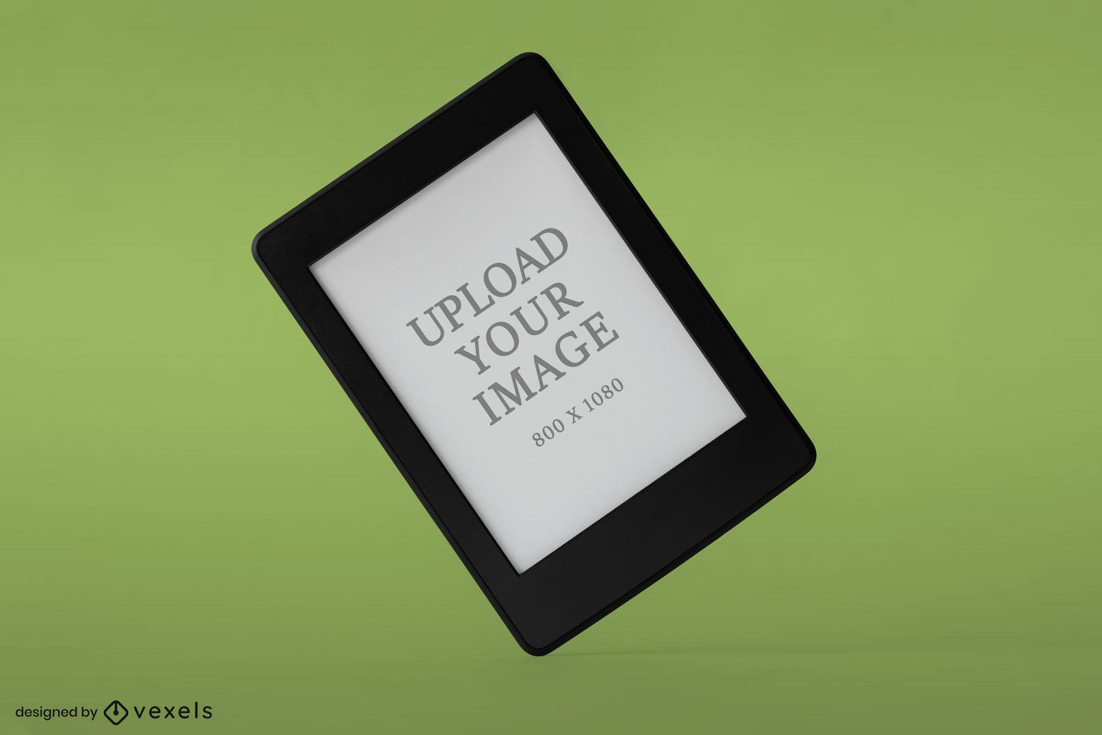 Kindle mockup flat green background