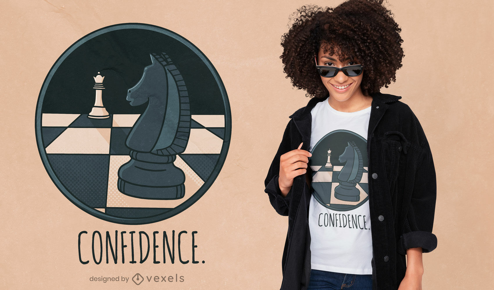 Diseño de camiseta de ajedrez caballero.