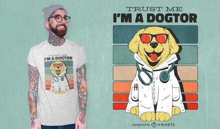 Diseño de camiseta perro doctor