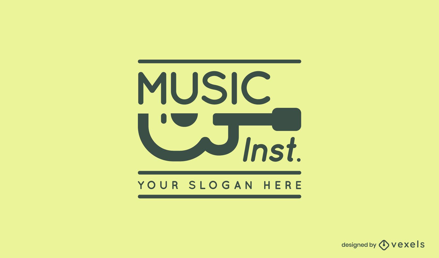 Guitar music stroke logo