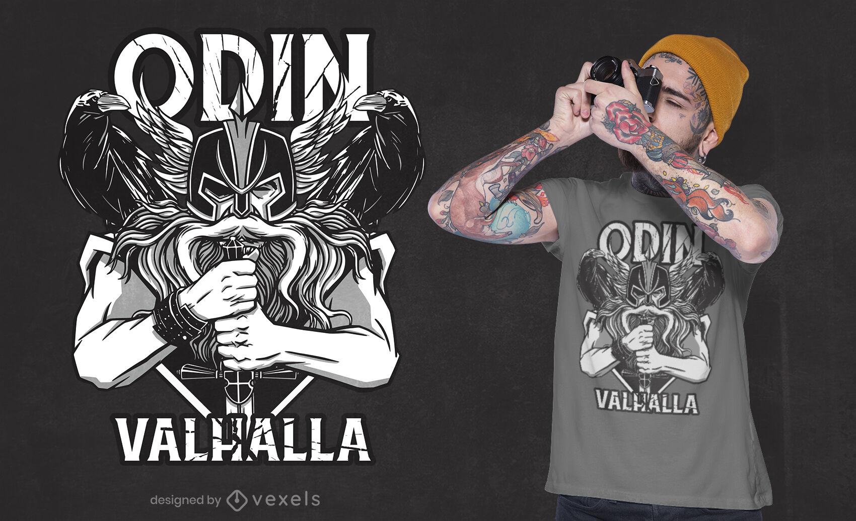 Dise?o de camiseta Odin Valhalla Viking.