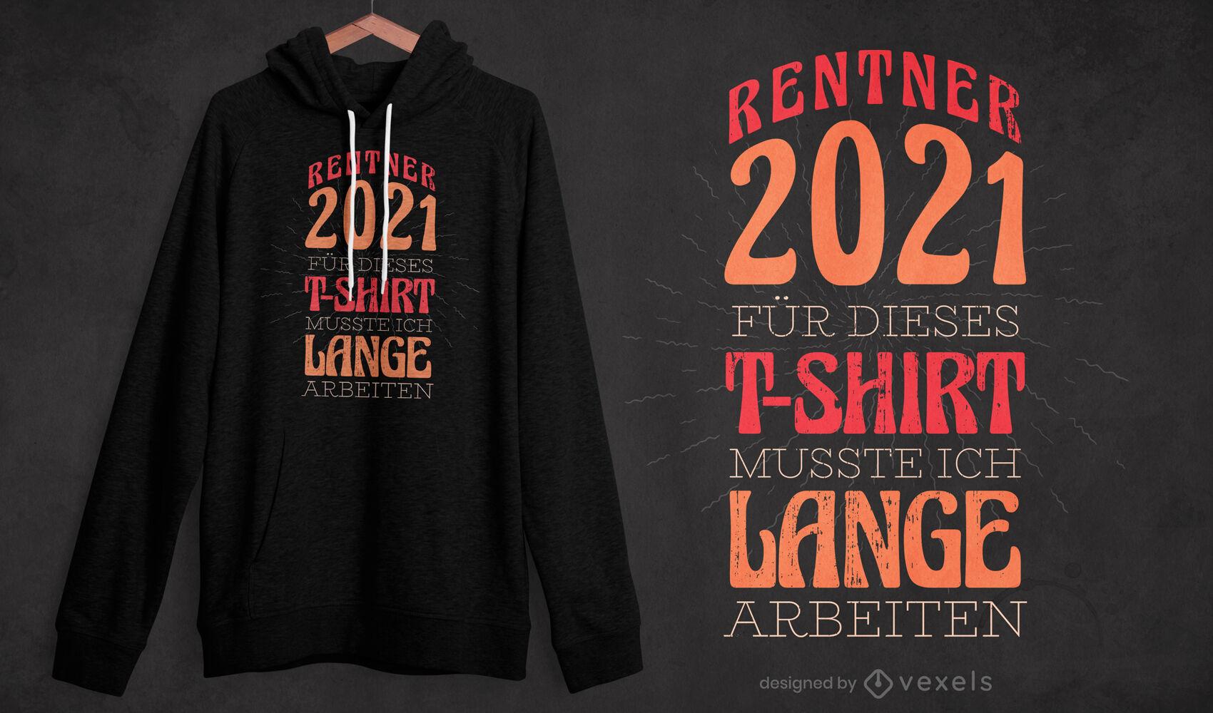 Diseño de camiseta alemán retirado 2021