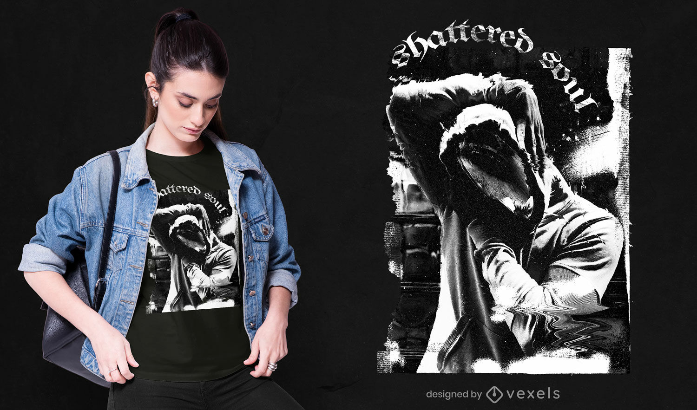 Dunkles fotografisches Collagen-T-Shirt psd