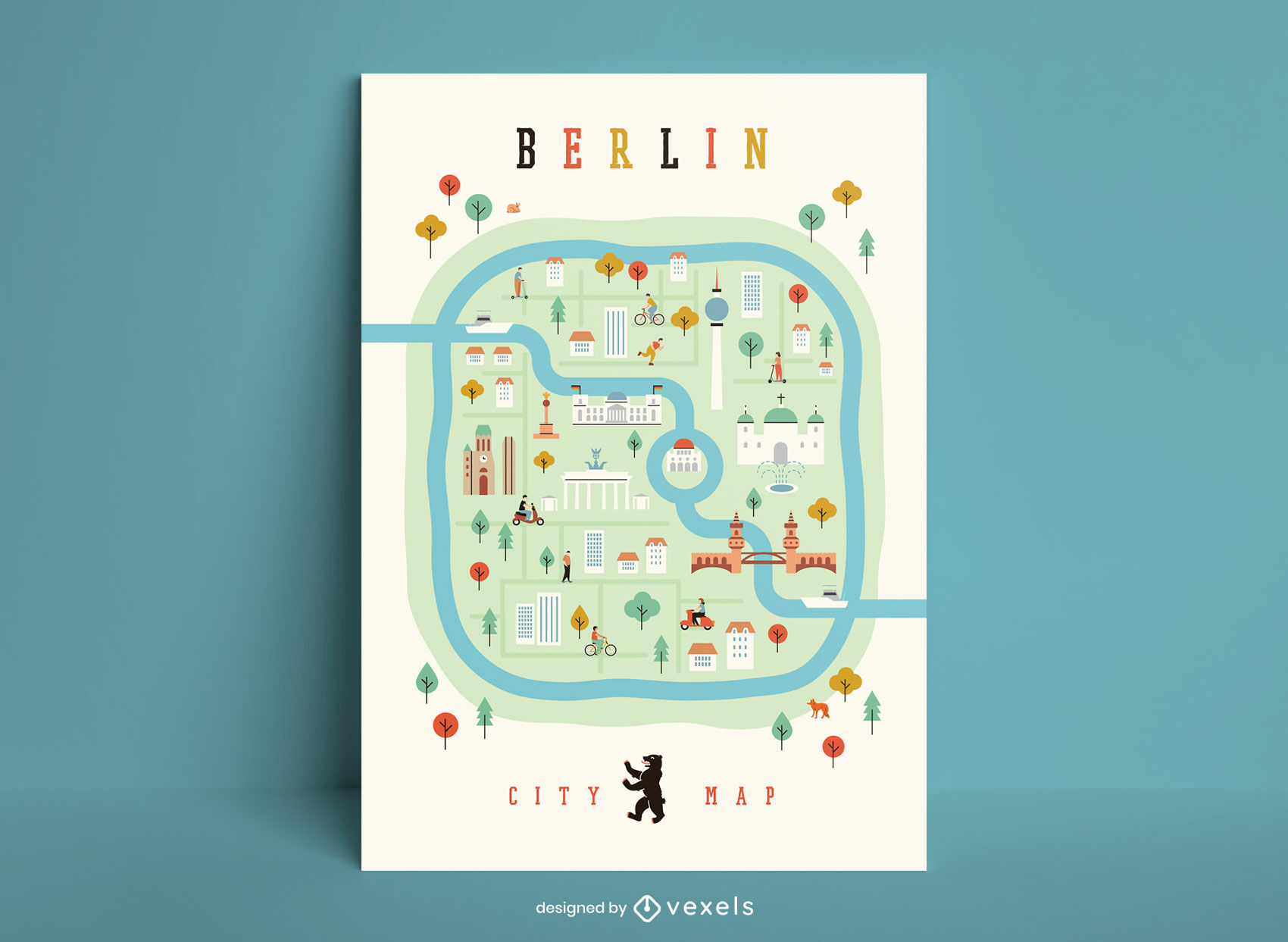 Modelo de pôster de mapa da cidade de Berlim