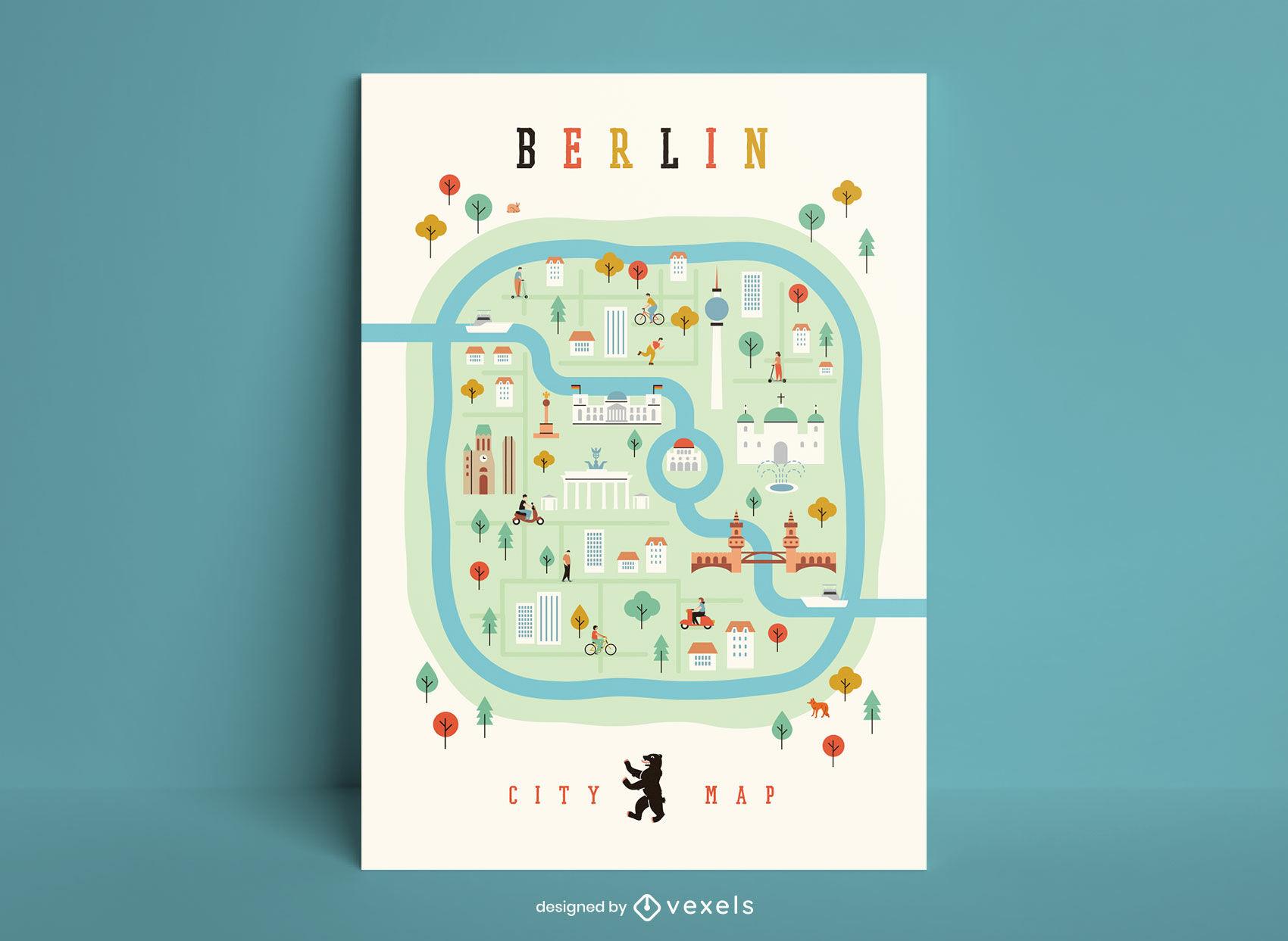Plantilla de póster de mapa de la ciudad de Berlín