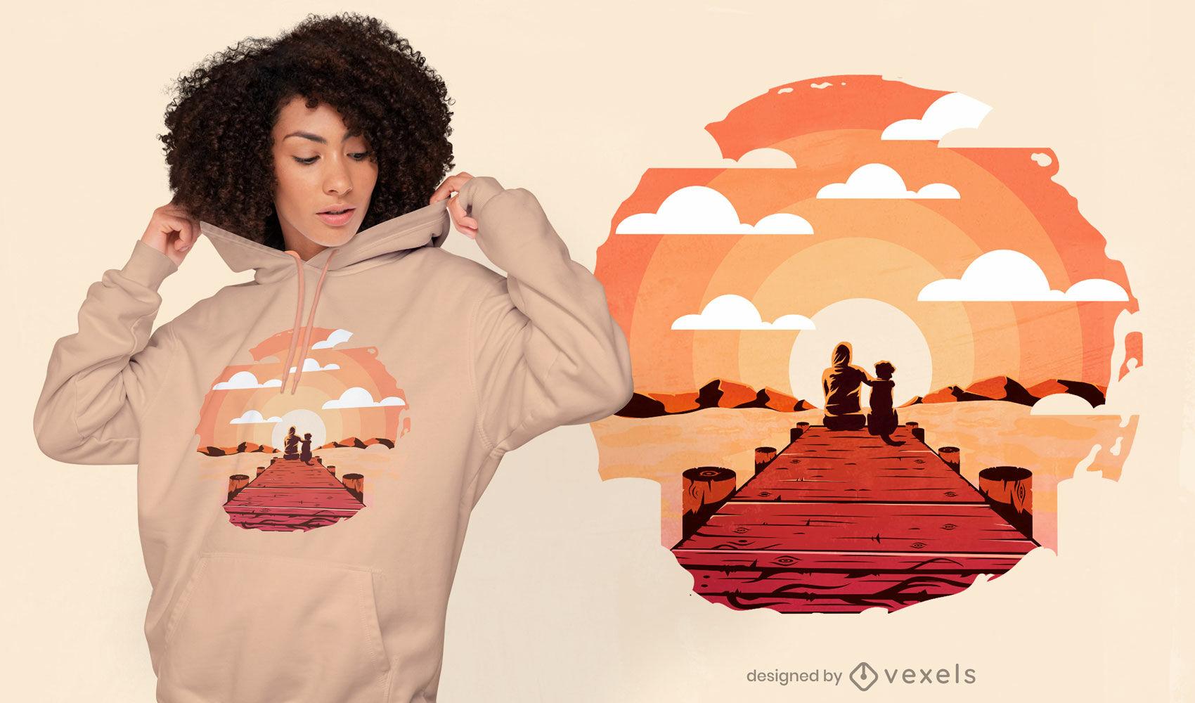 Frau und Hund Pier T-Shirt Design