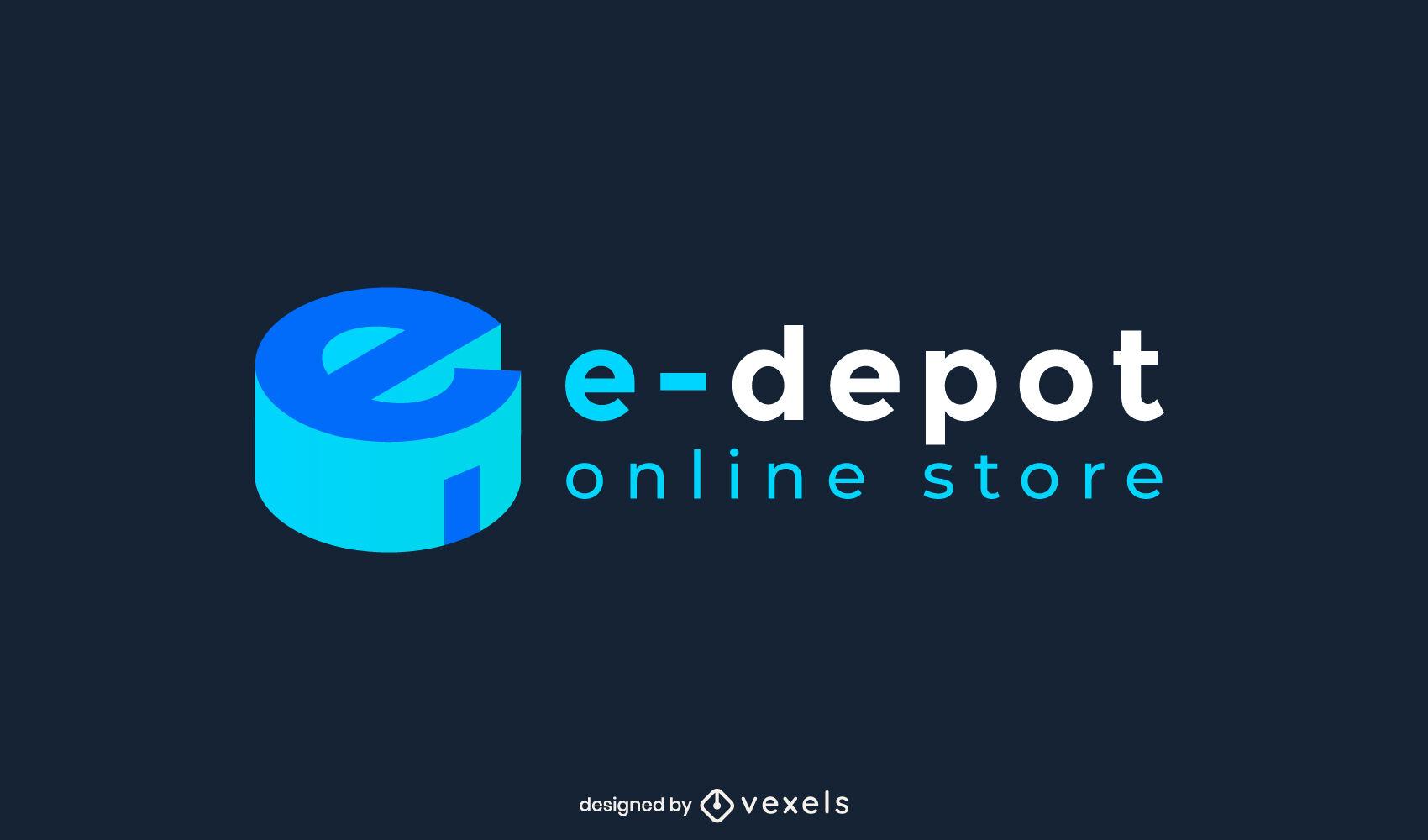 E online store 3d logo