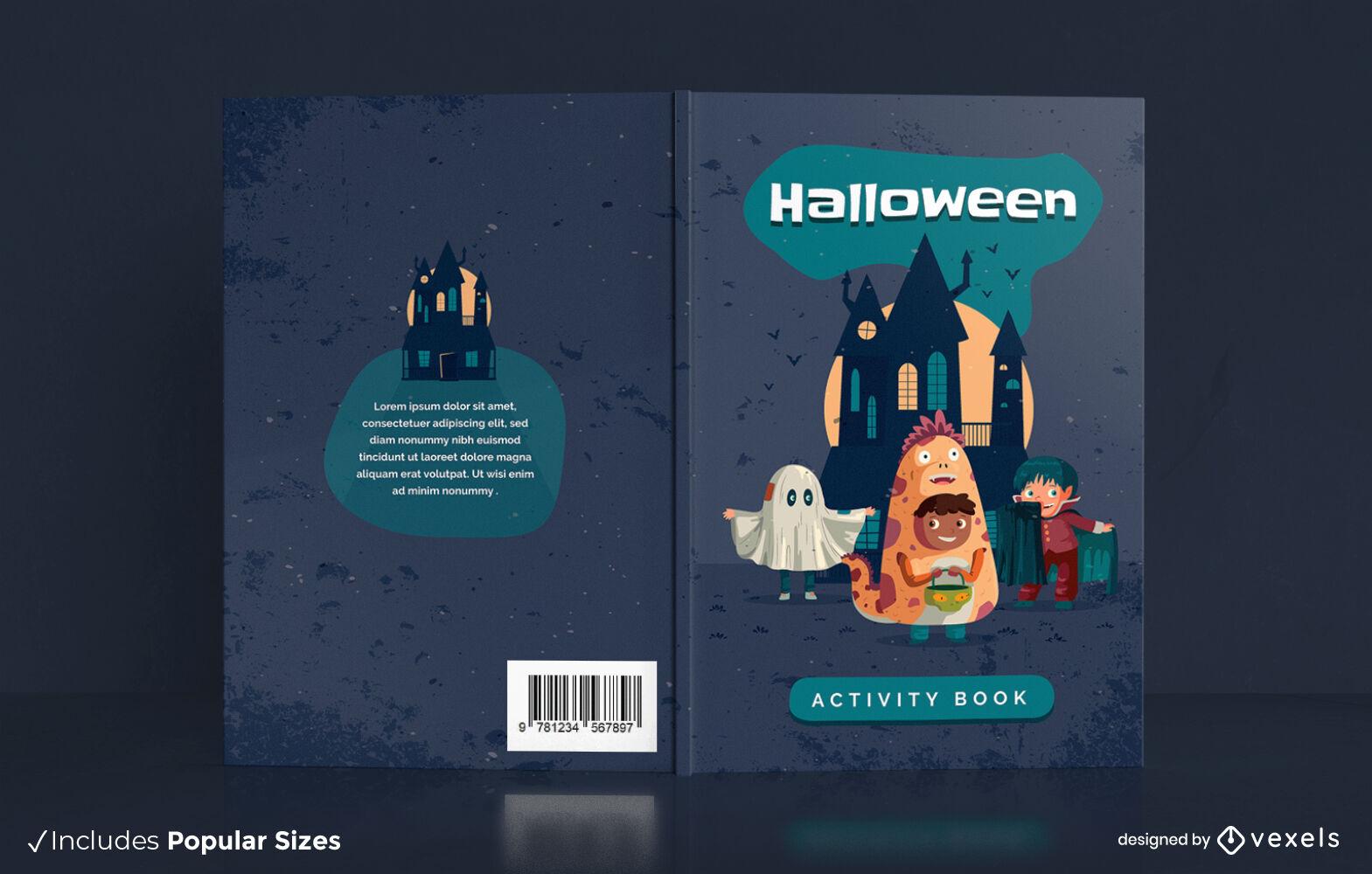 Diseño de portada de libro de actividades de halloween para niños
