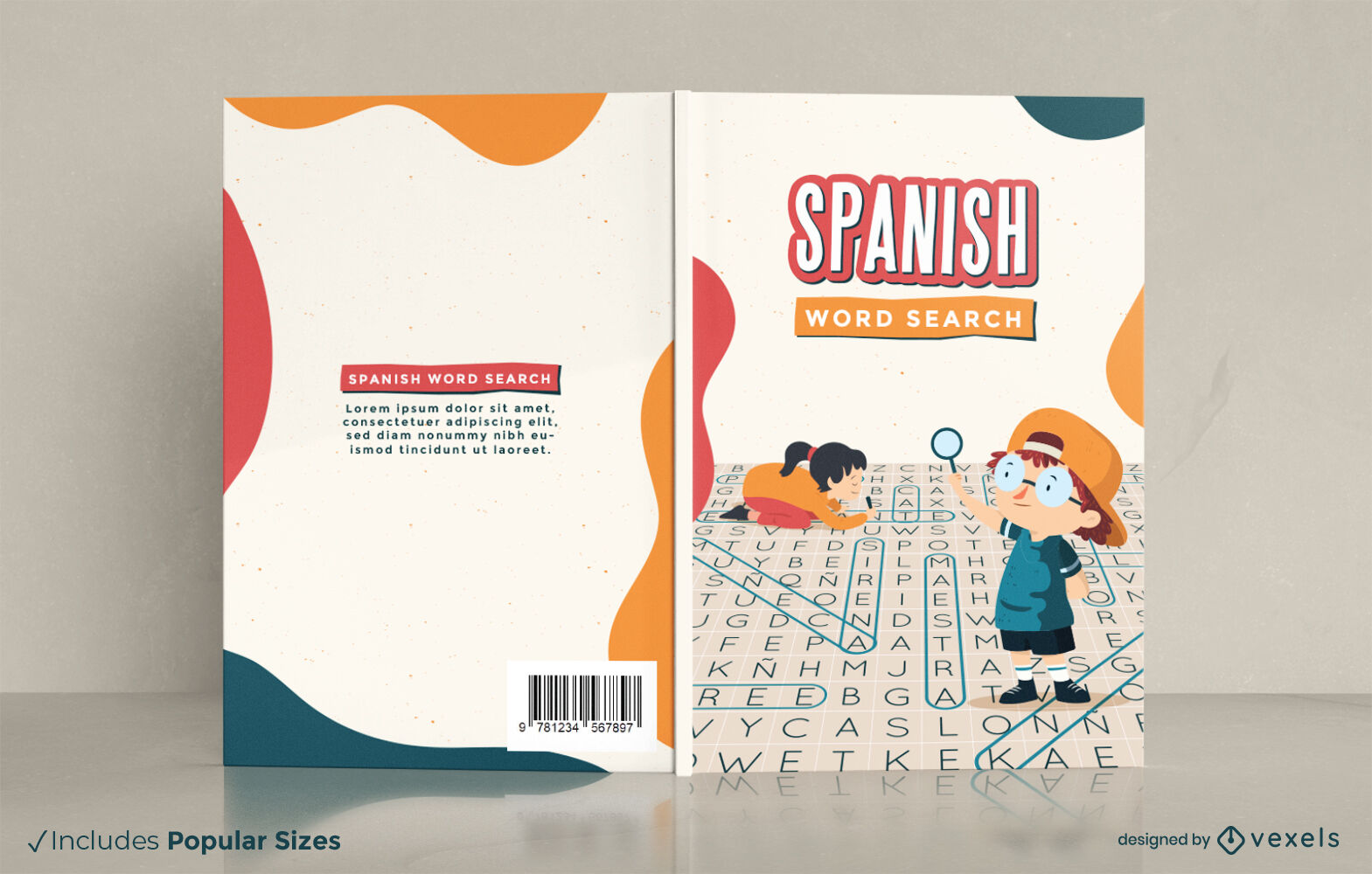 Spanish word search puzzle book cover design