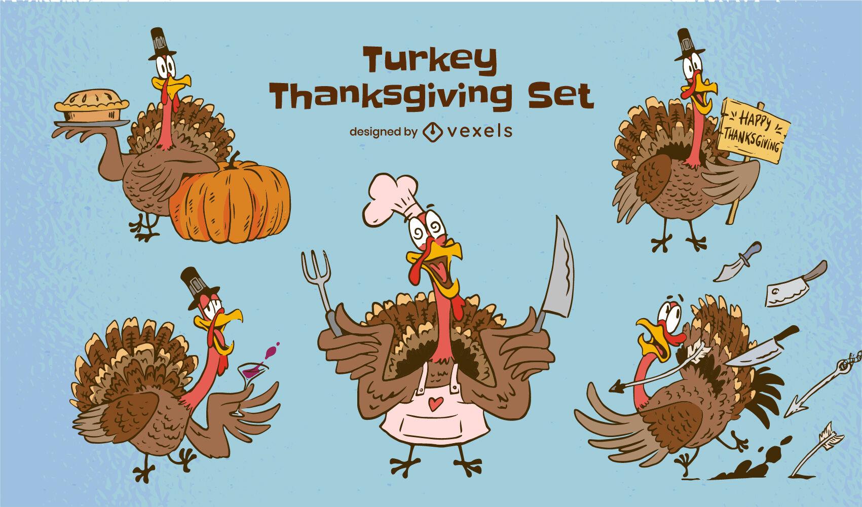 Thanksgiving cartoon turkey character set