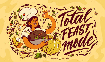 Thanksgiving holiday cooking illustration