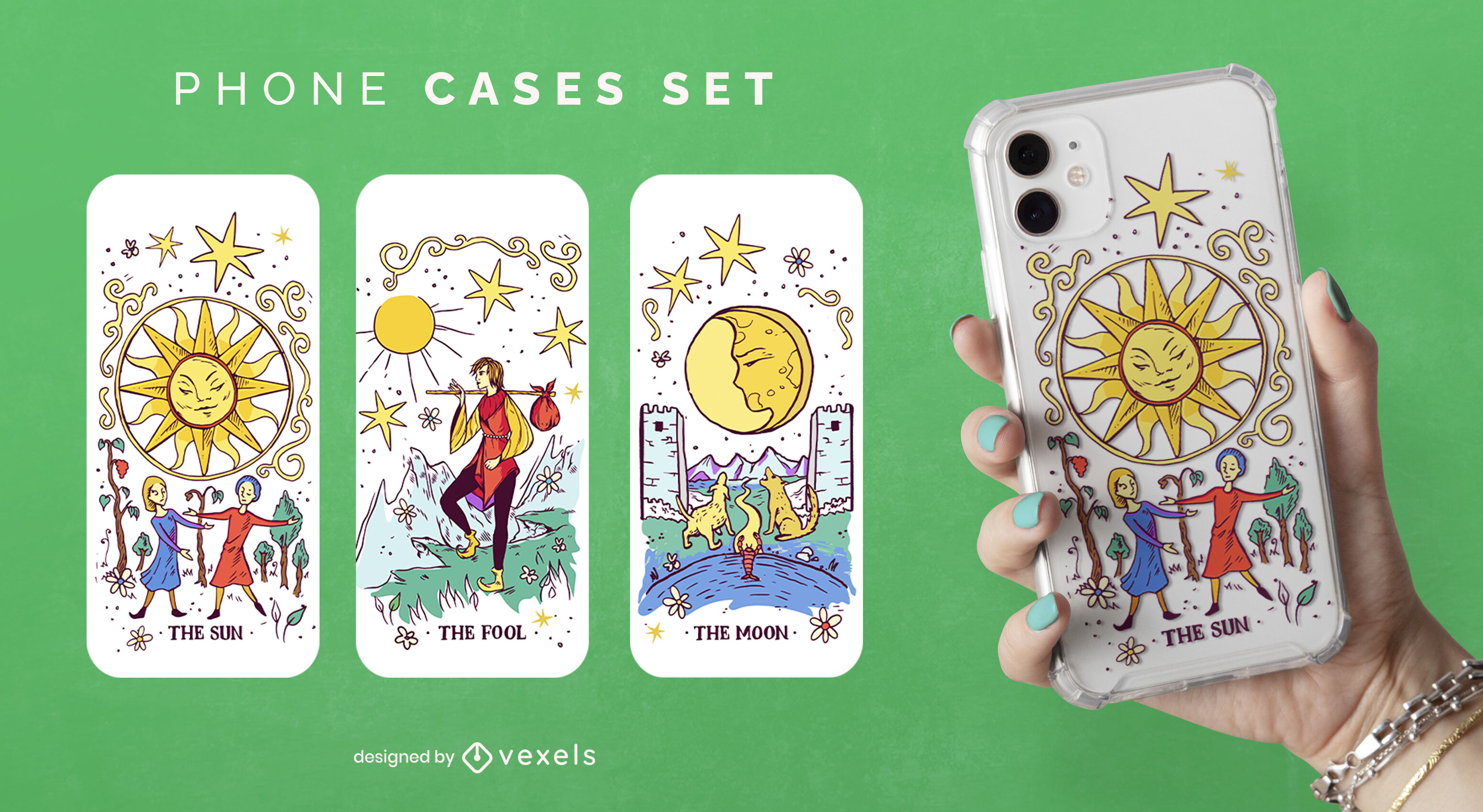 Conjunto de capa de telefone vintage de baralho de tarô