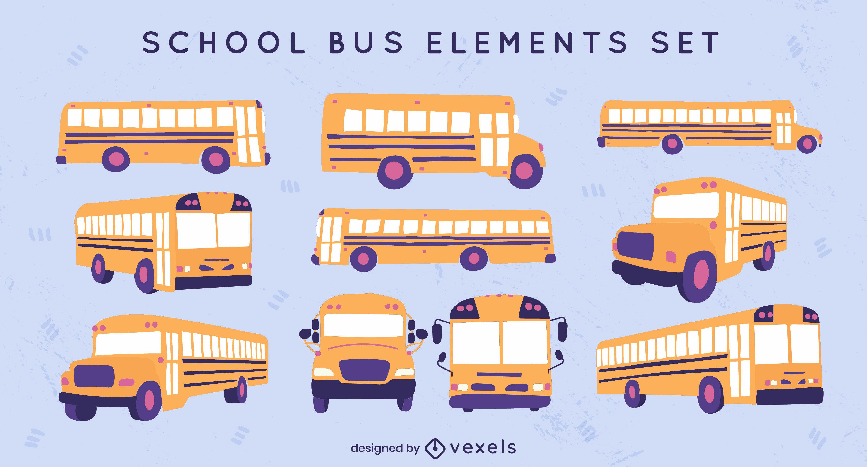 Conjunto plano de autobuses escolares