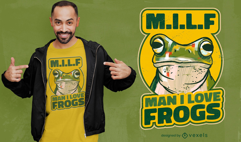 Hombre amo el diseño de camiseta de ranas