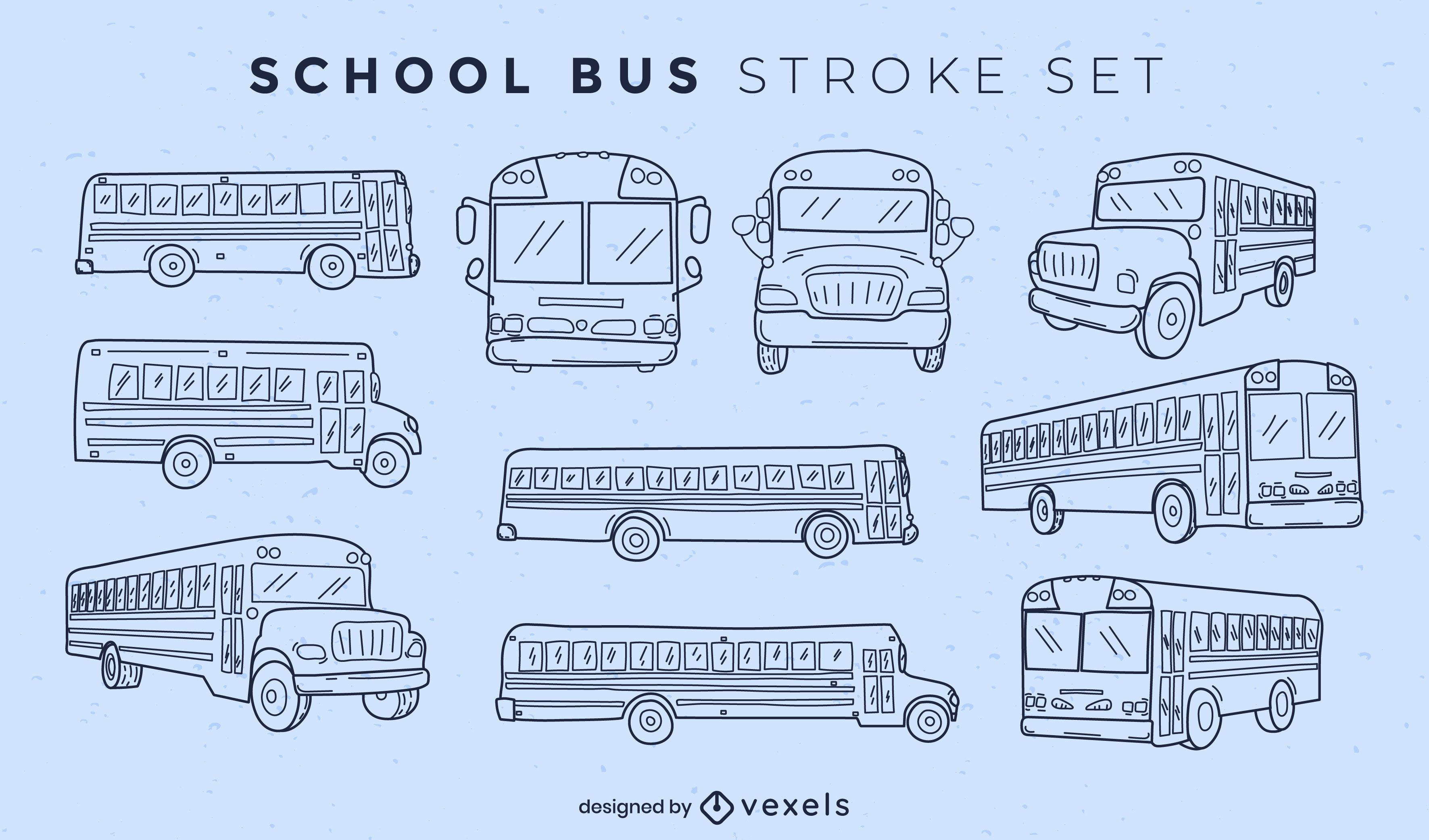 Set of school buses stroke