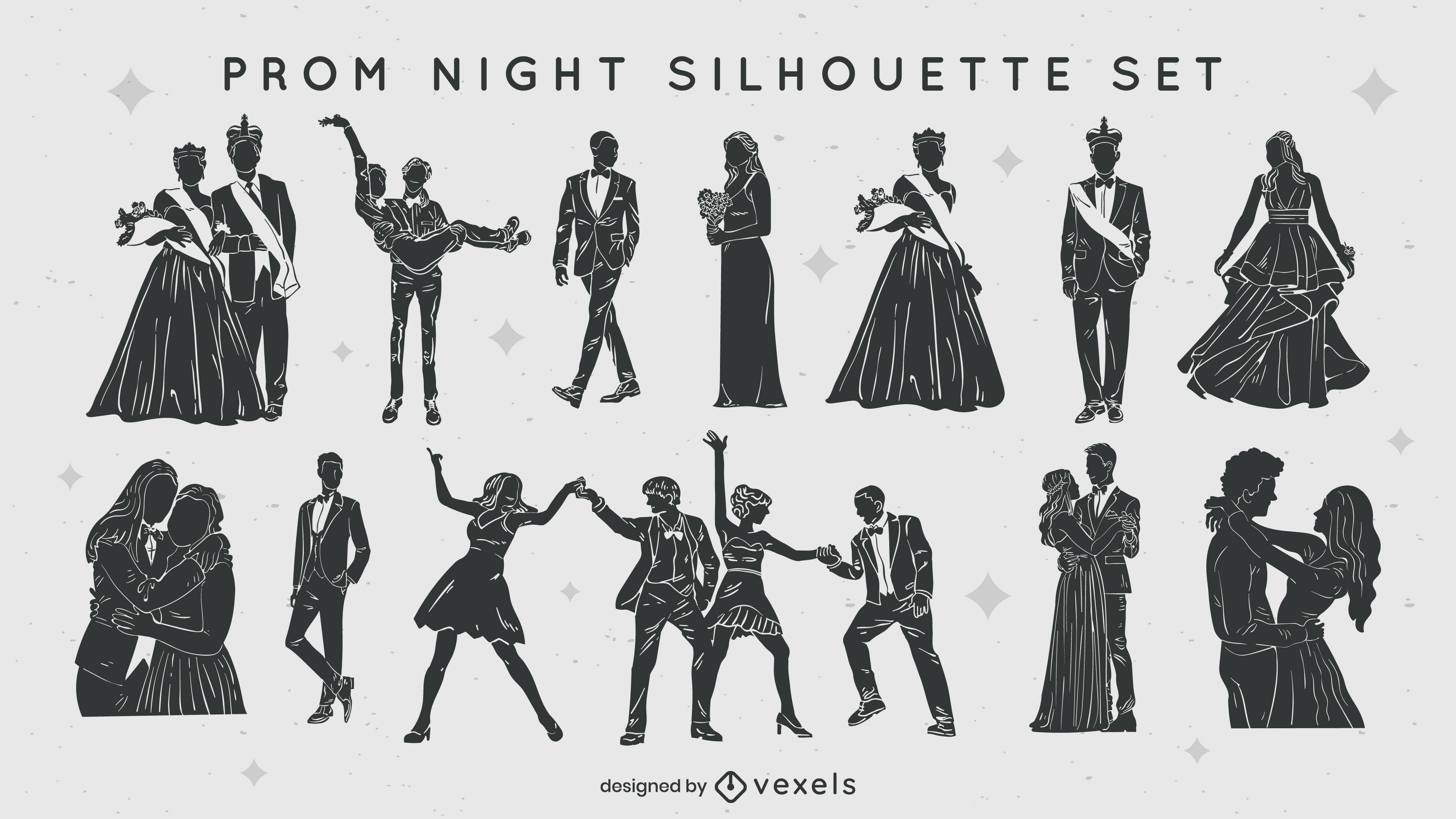 Abschlussballnacht Silhouetten Set ausgeschnitten