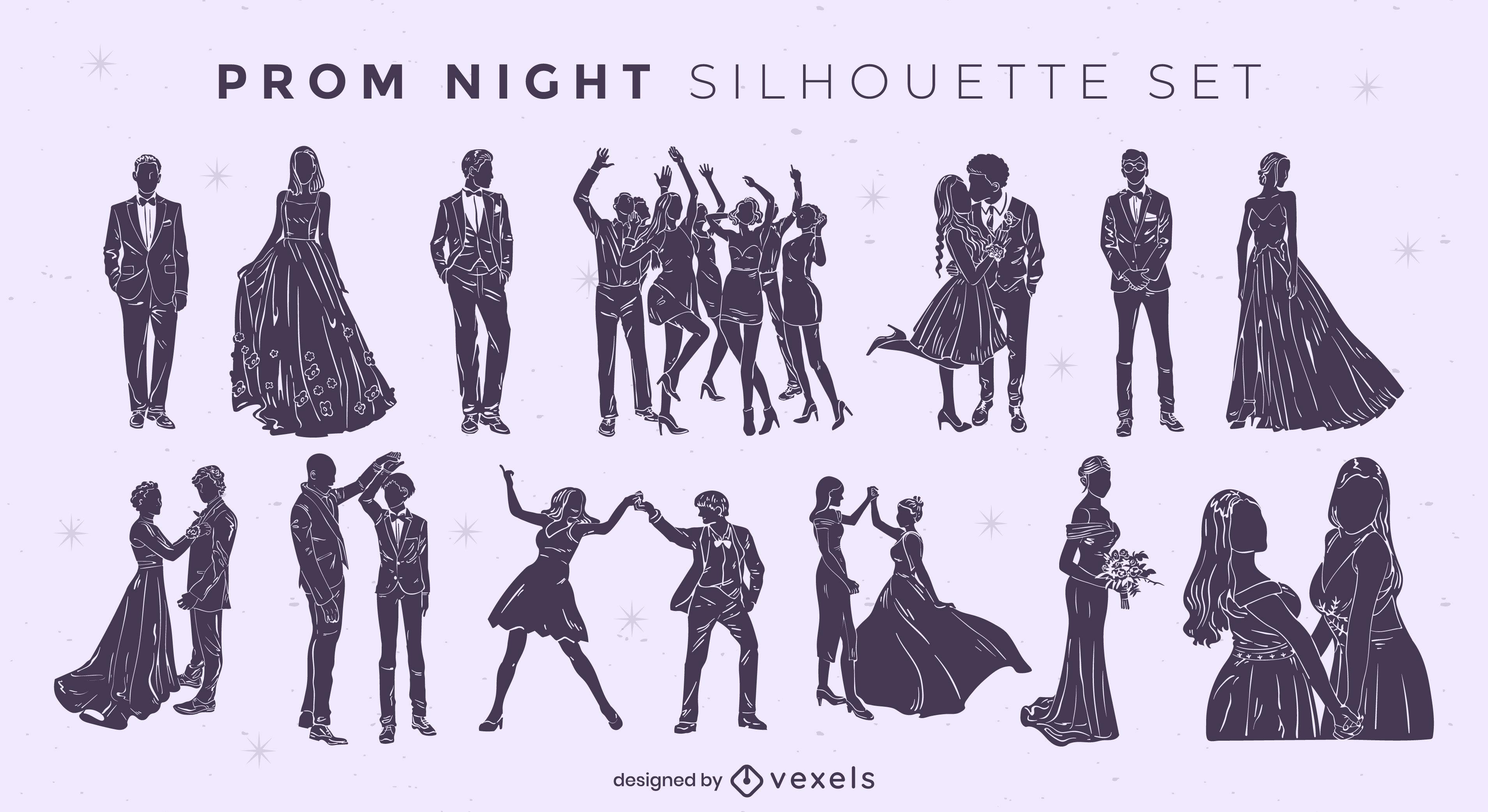 Abschlussball-Nacht-Silhouetten-Ausschnitt-Set
