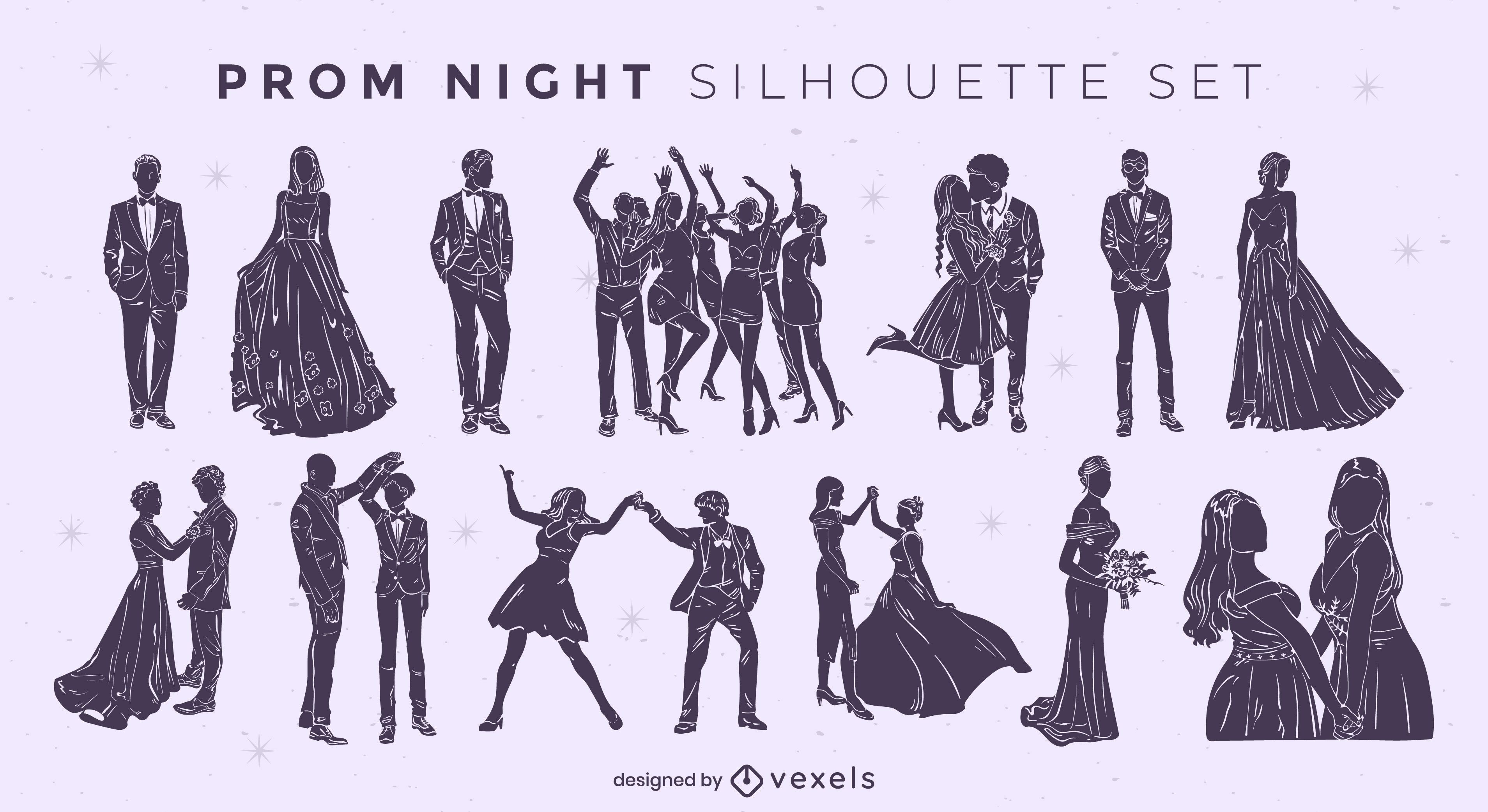 Prom night silhouettes cut out set