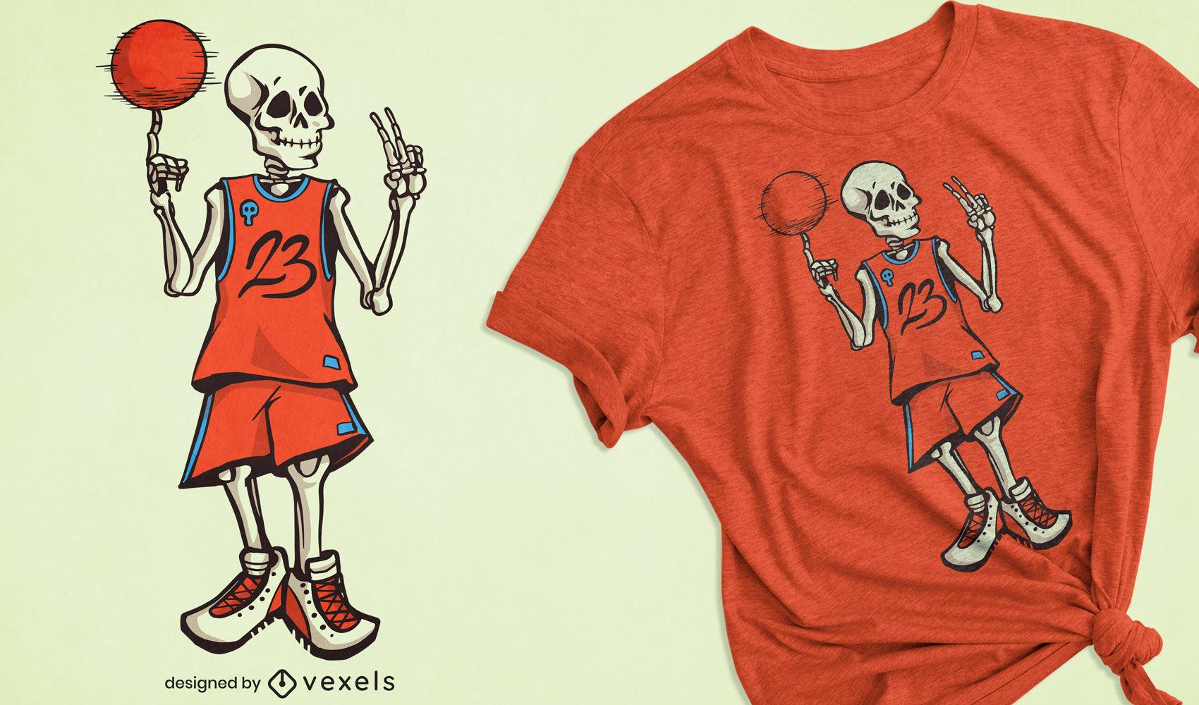 Design de camiseta de basquete esqueleto