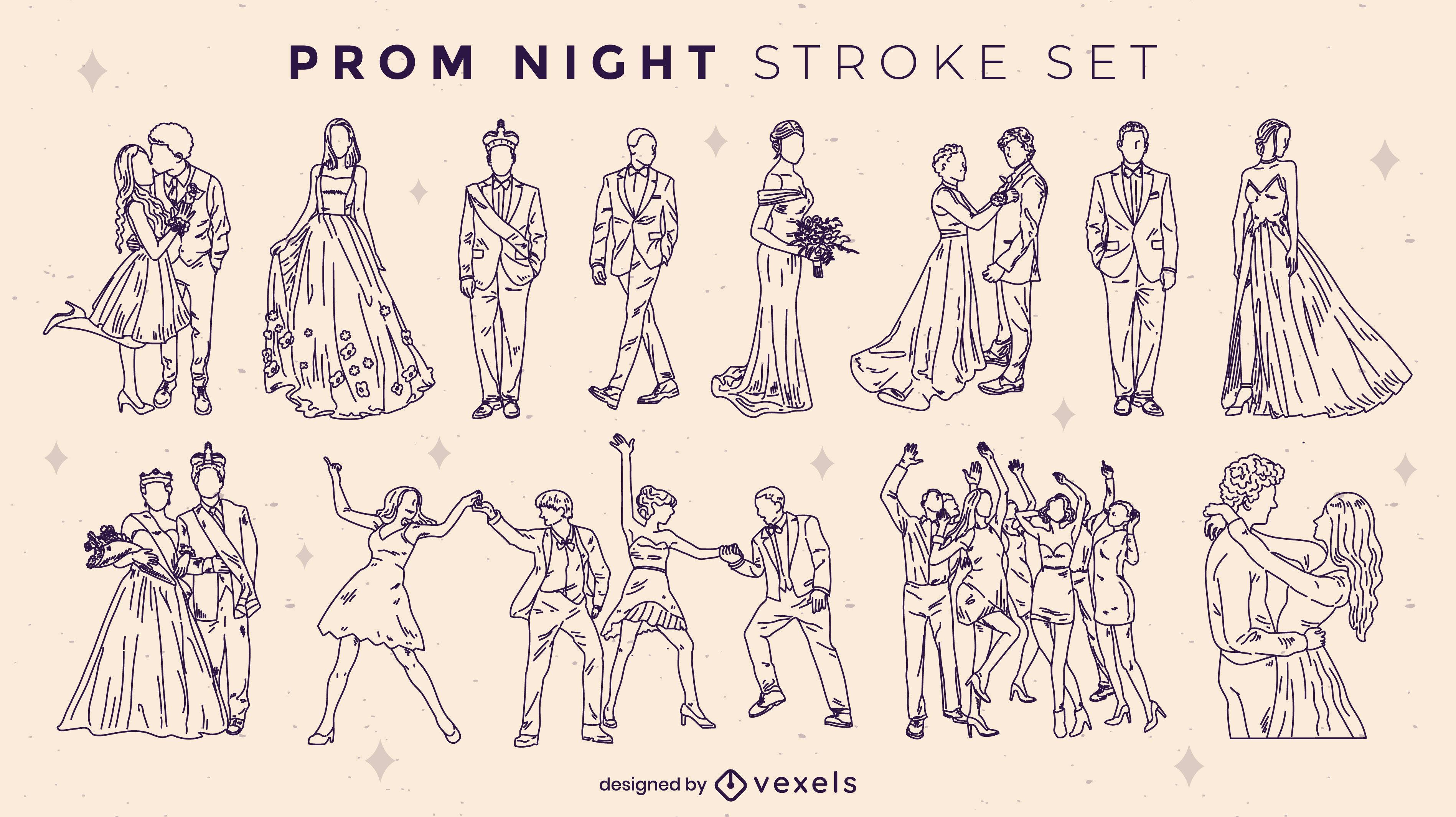 Prom night elements stroke set