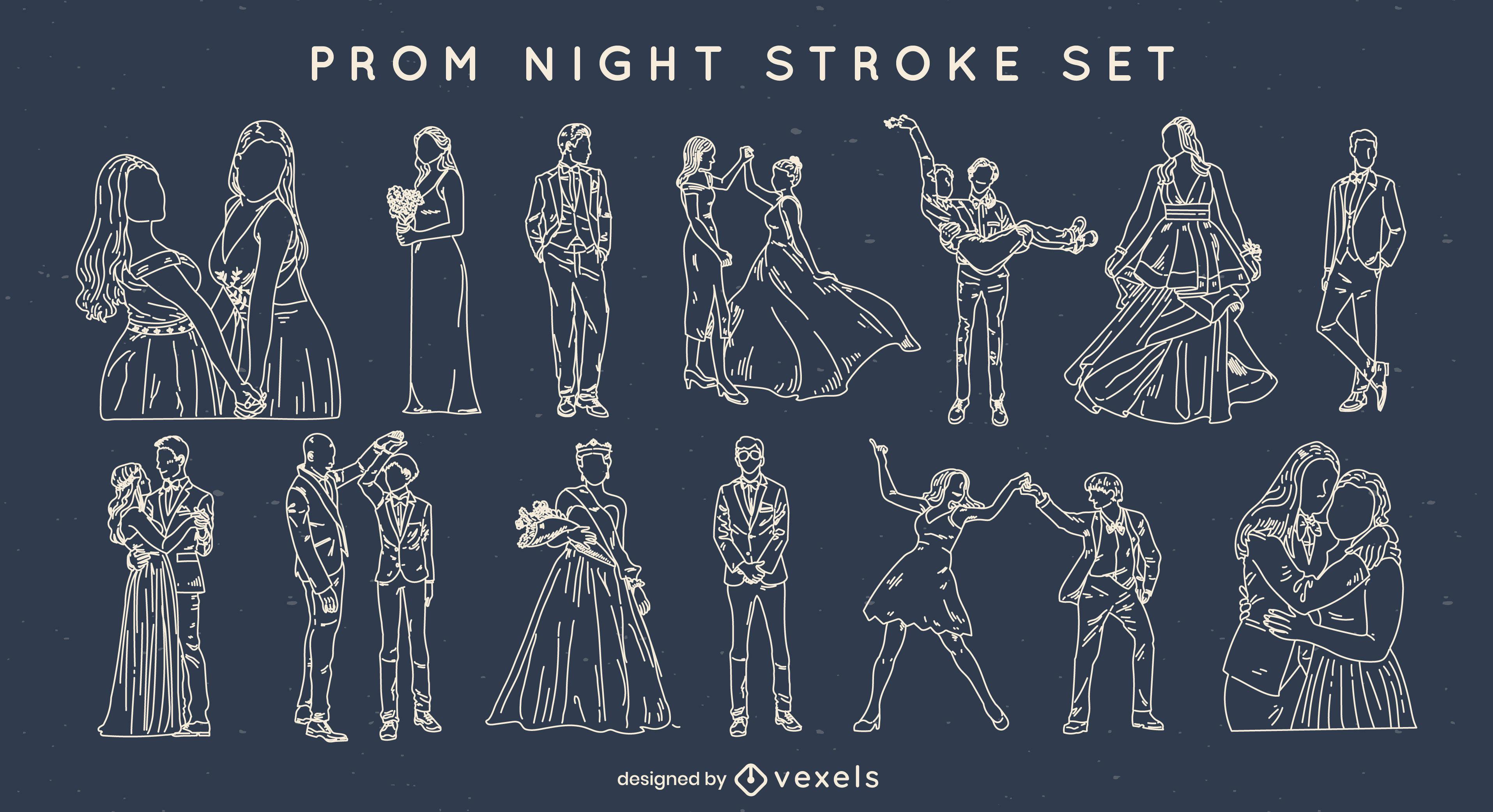 Prom night stroke elements set
