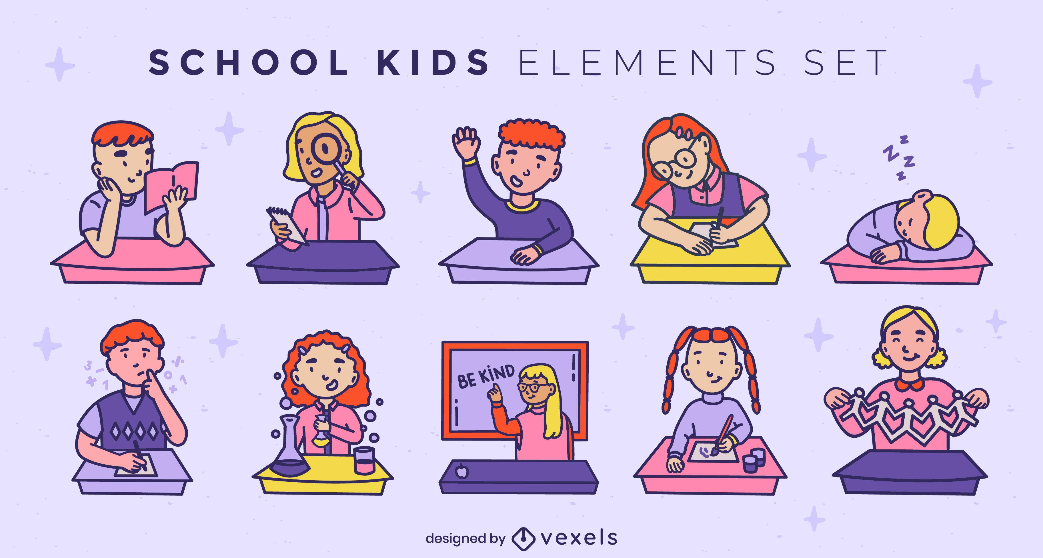 Conjunto de trazos de color para niños de escuela
