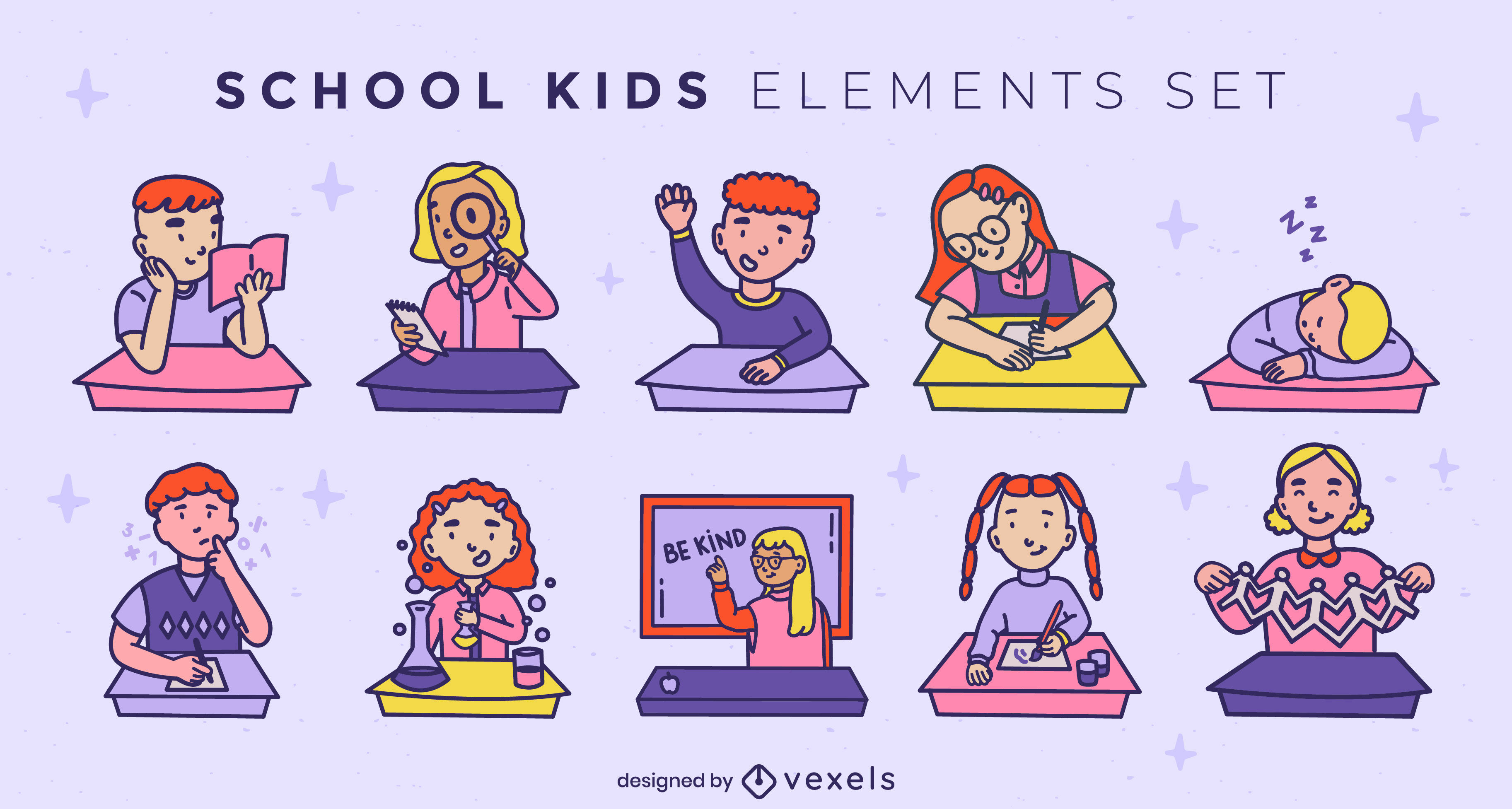 School kids color stroke set