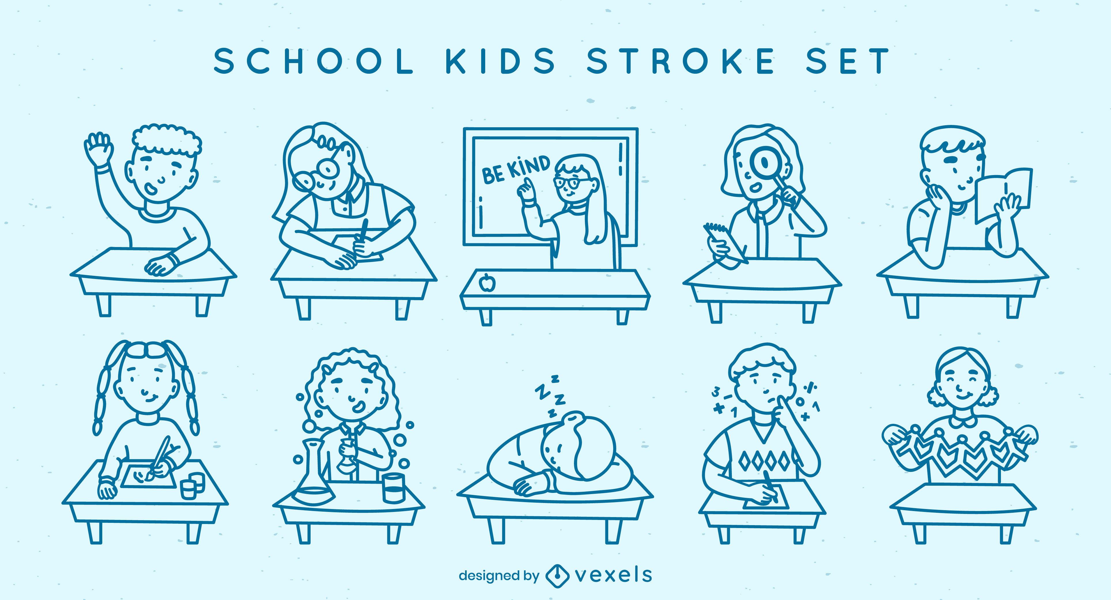 School kids stroke set