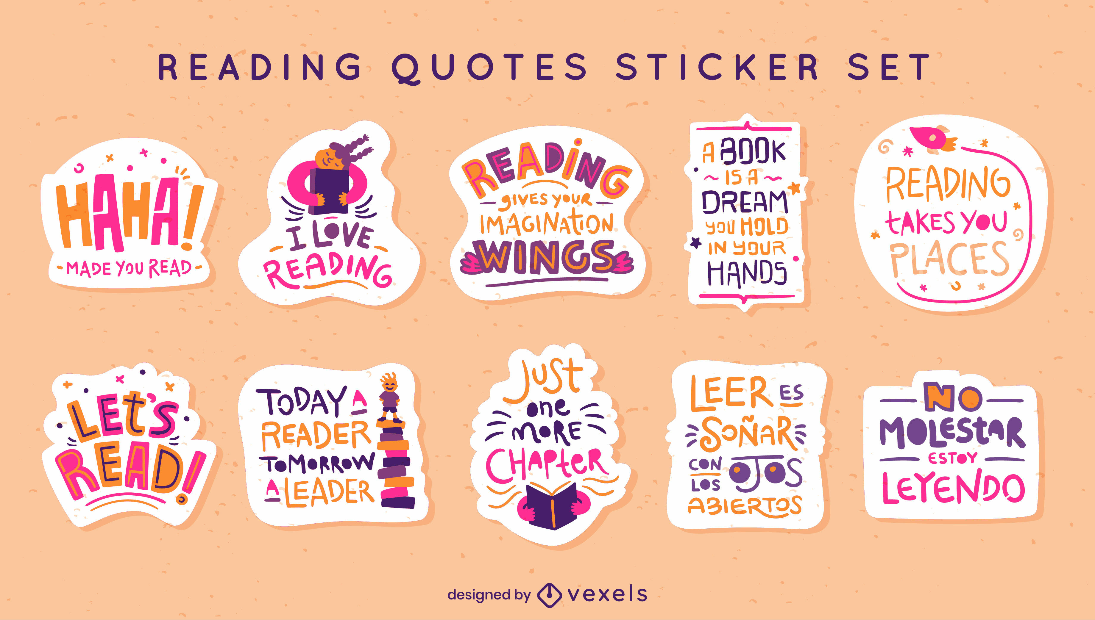 Lettering set of reading stickers
