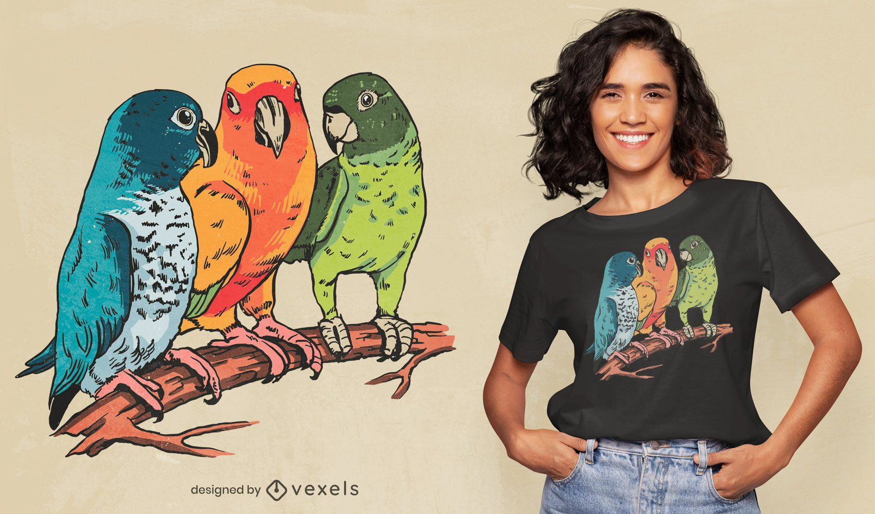 Diseño de camiseta de ilustración de tres loros.