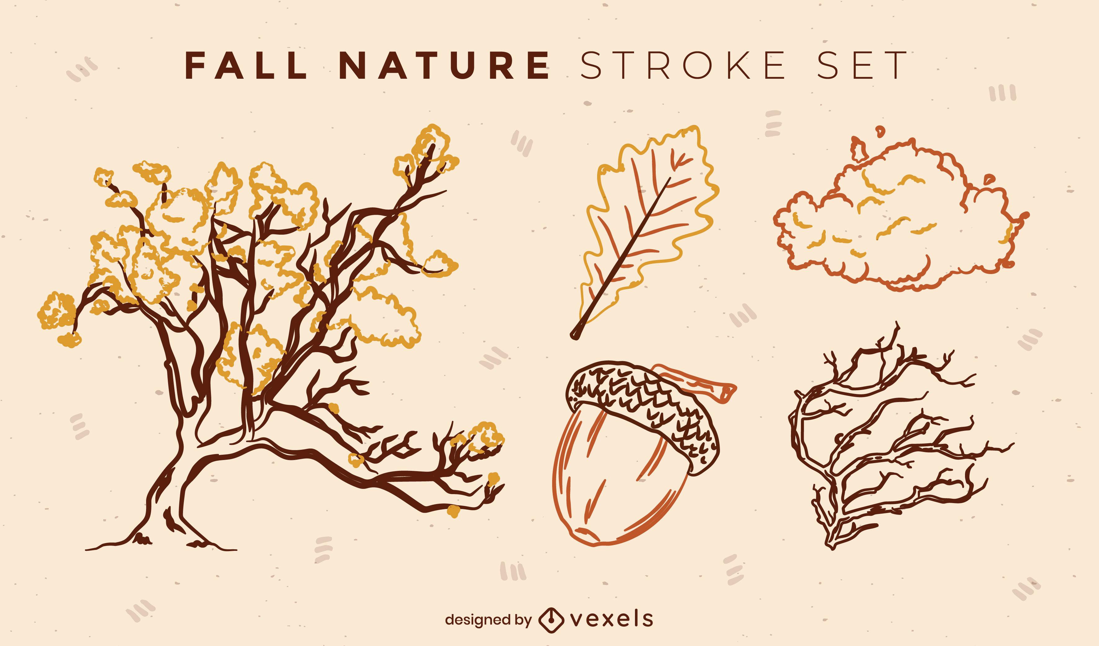 Autumn elements doodle set