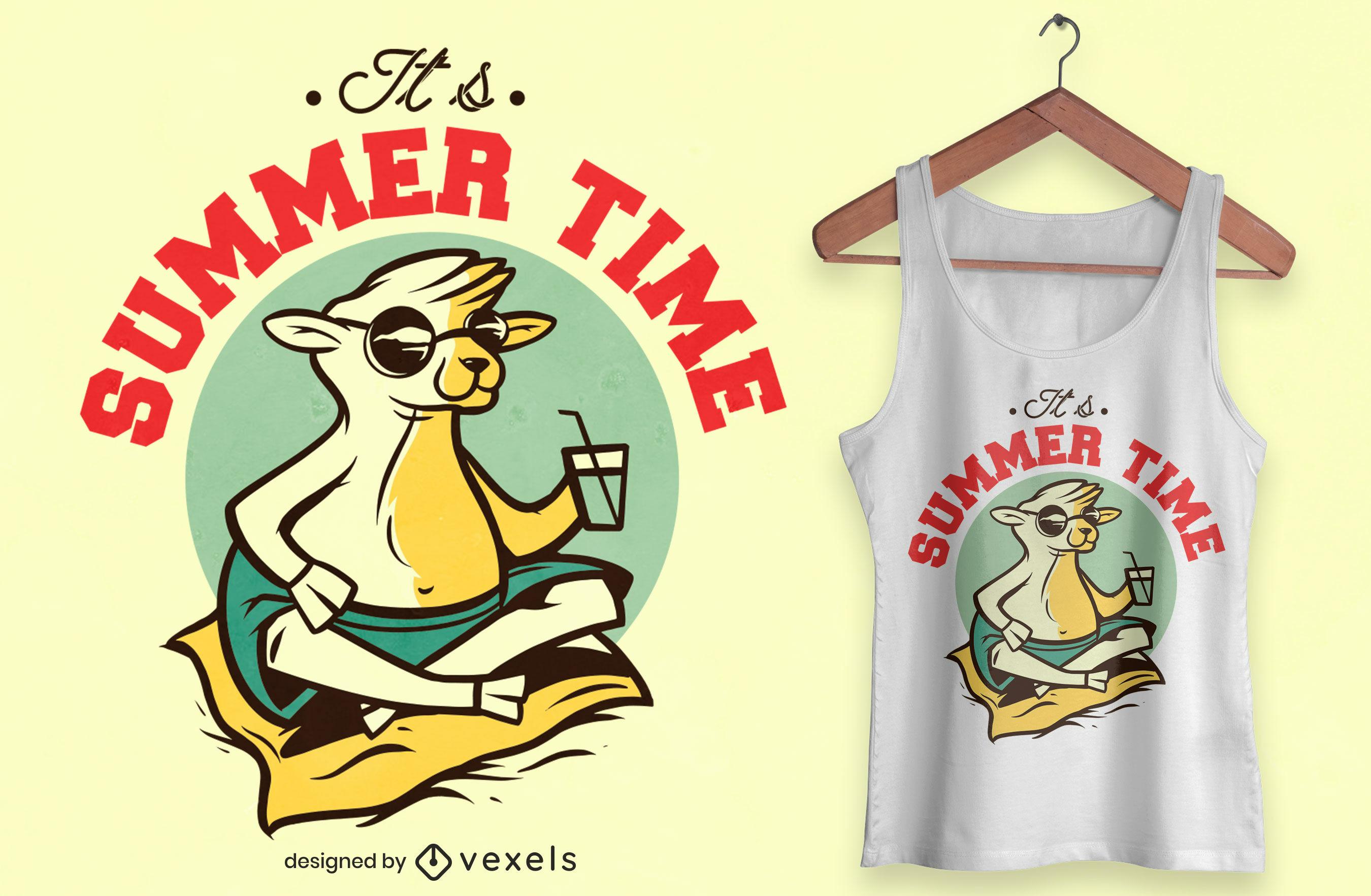 Diseño de camiseta de oveja fresca de verano.