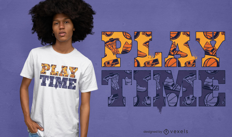 Design de t-shirt com padrão de texto para a hora do jogo