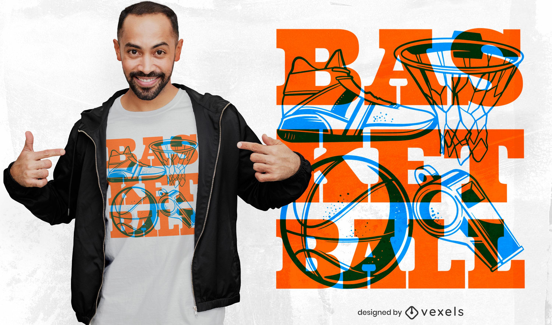 Basketball sport equipment t-shirt design