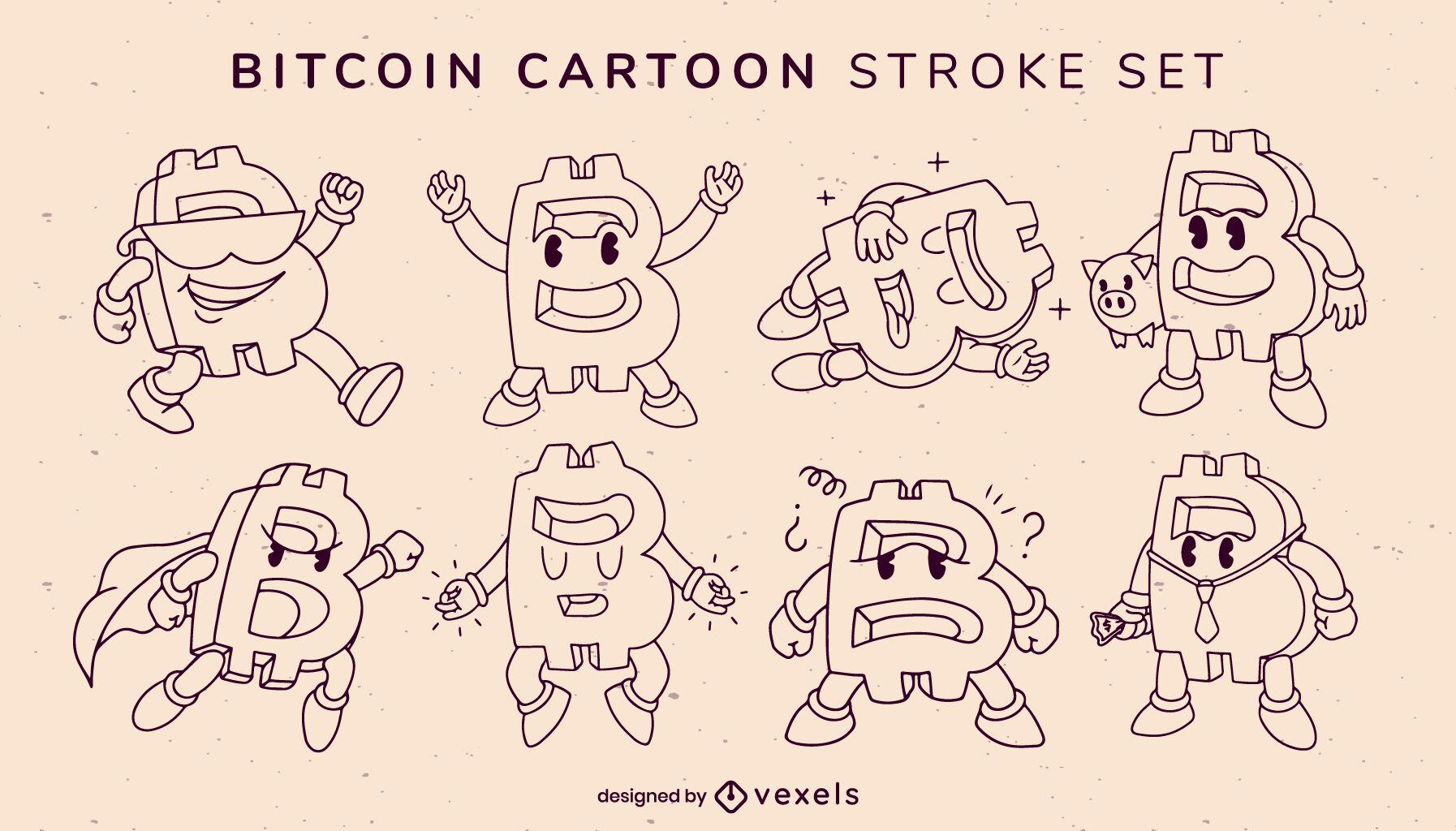 Bitcoin cartoon stroke characters set