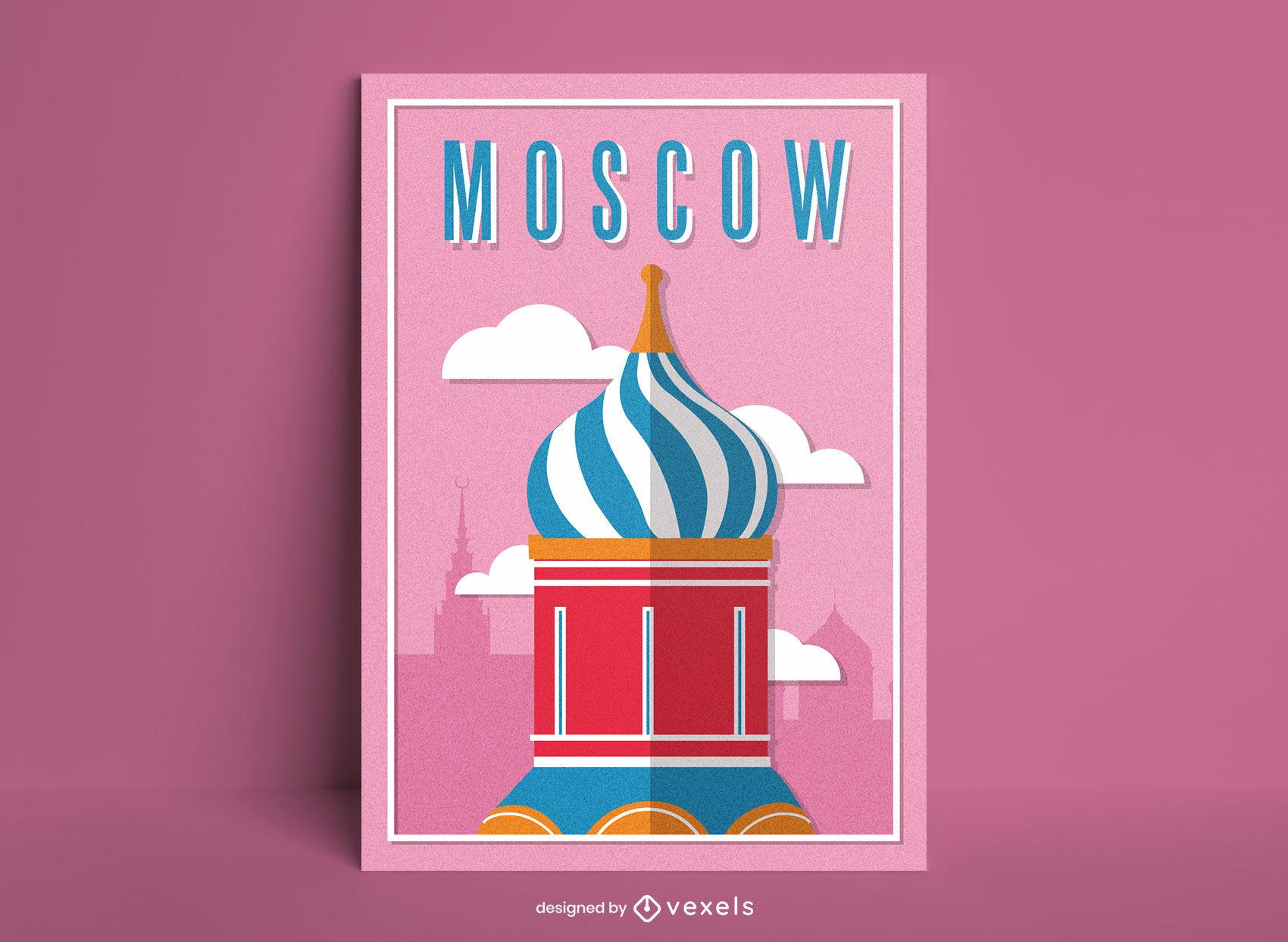 Cartel de detalle de la catedral de la ciudad de Moscú