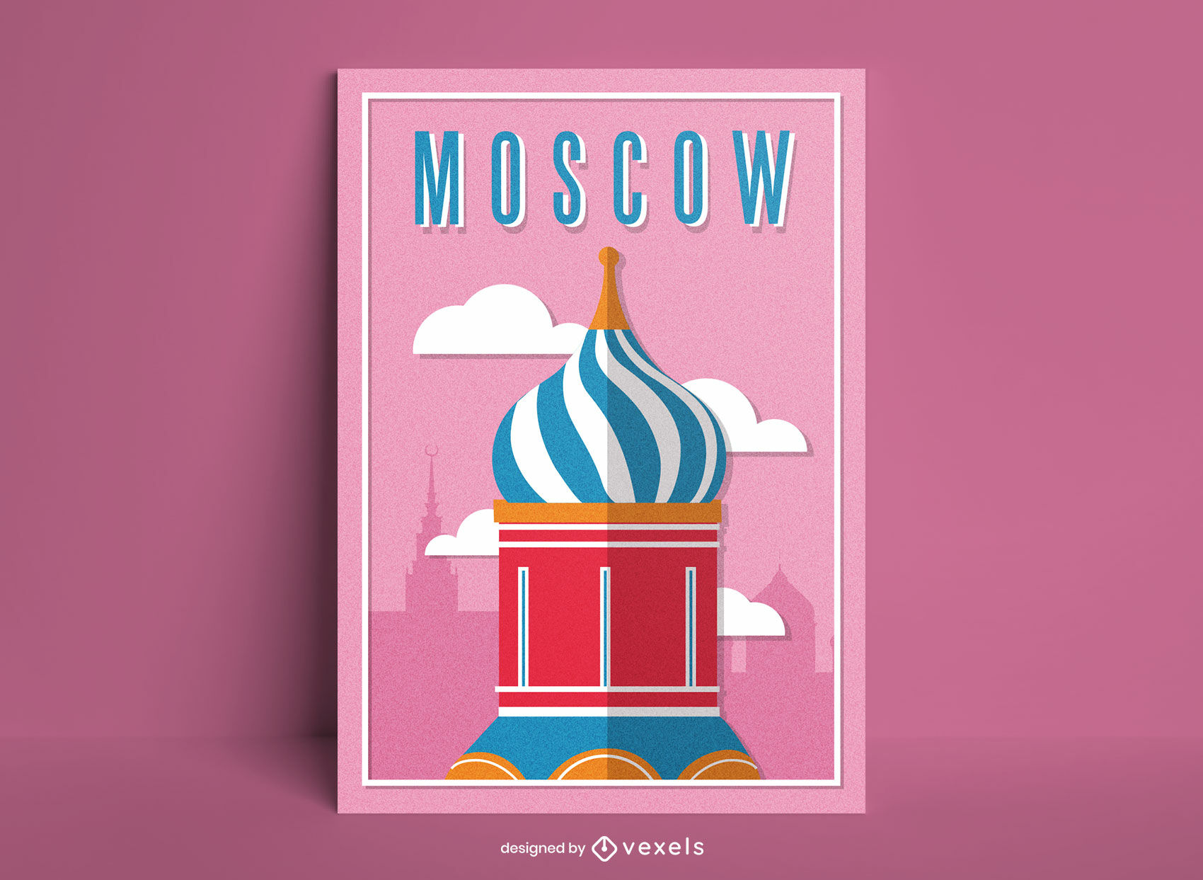 Moscow city cathedral detail poster