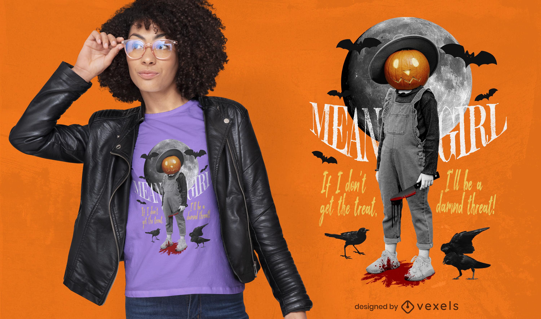 T-shirt de colagem homem abóbora de Halloween psd