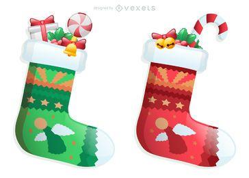 Vector de elementos de diseño de Navidad