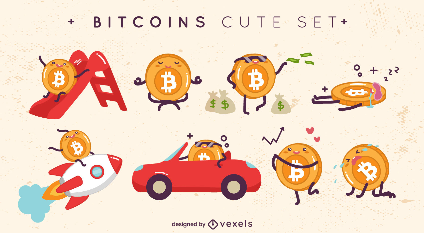 Bitcoin cute characters set