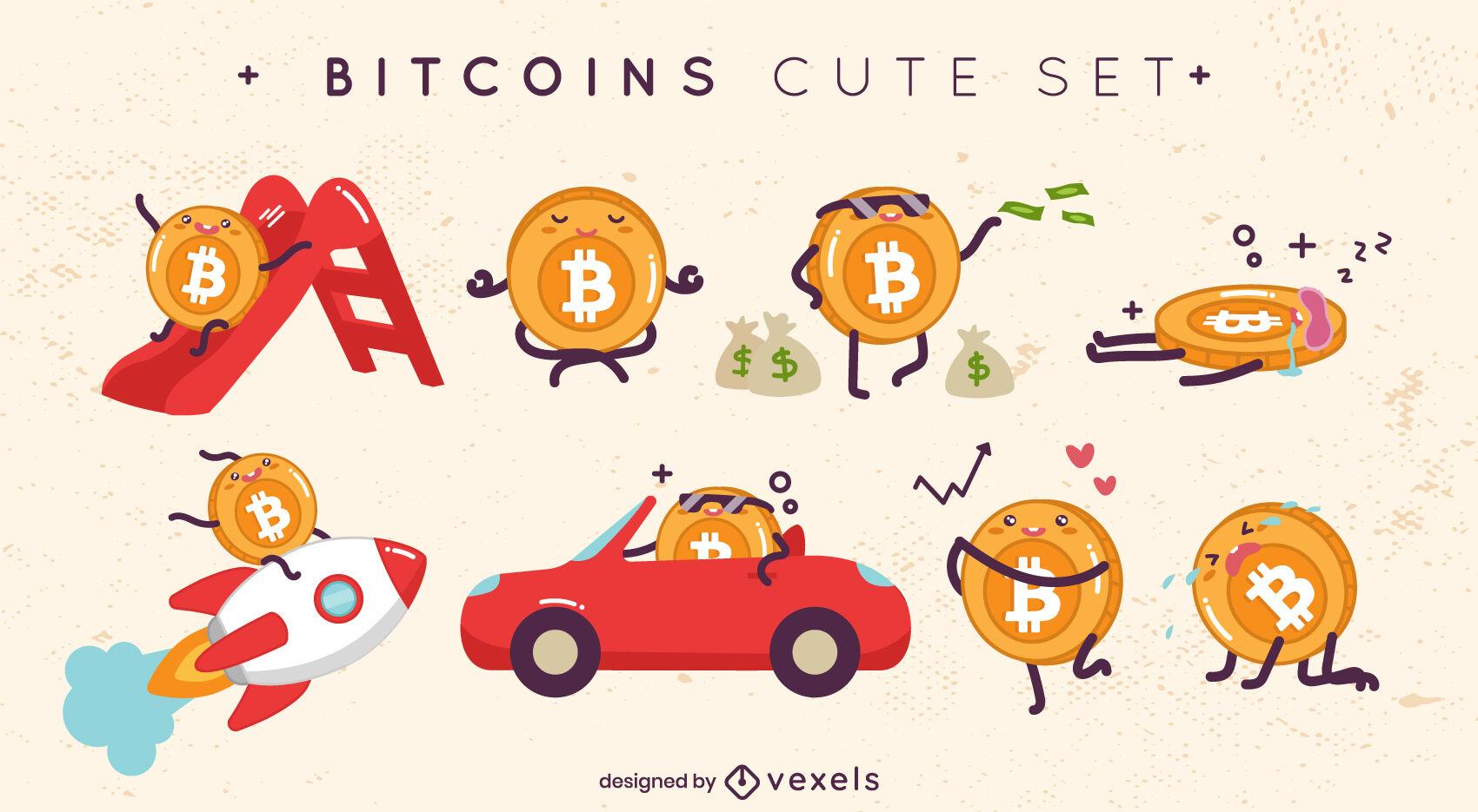 Conjunto de personajes lindos de Bitcoin