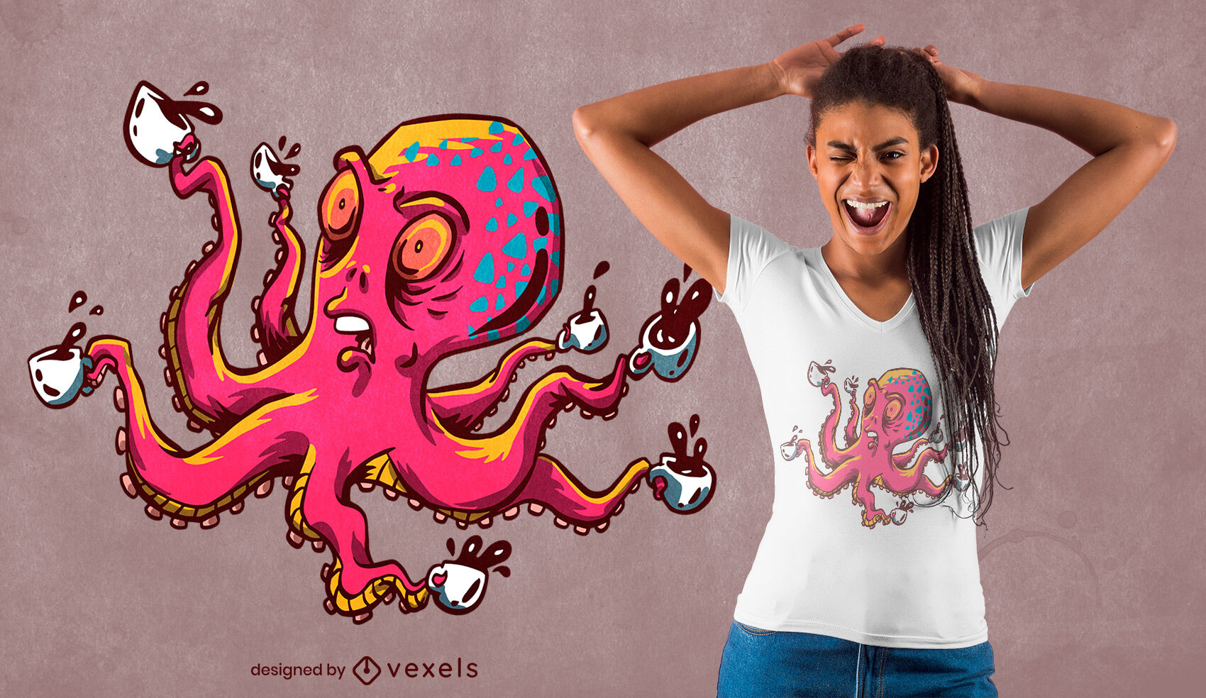 Octopus with coffee cups t-shirt design