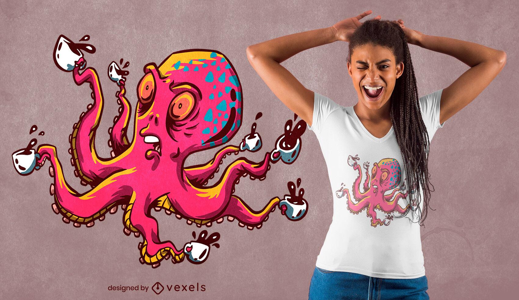 Oktopus mit Kaffeetassen T-Shirt Design