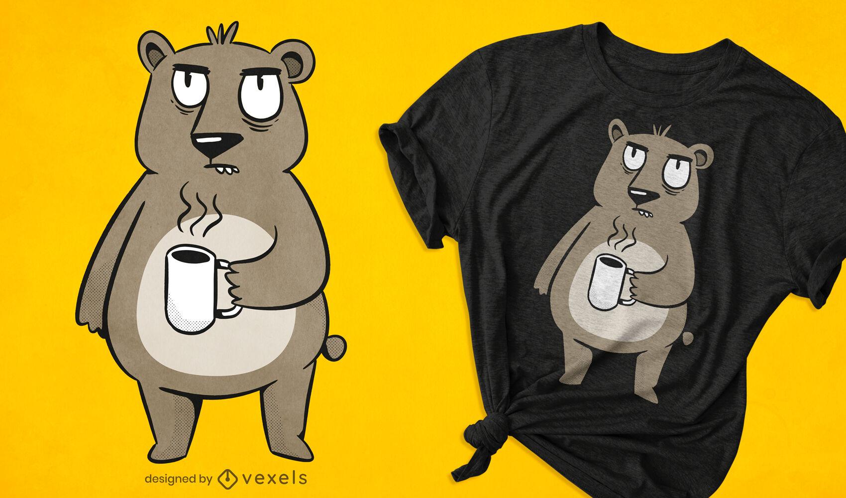 Design de t-shirt de urso mal-humorado